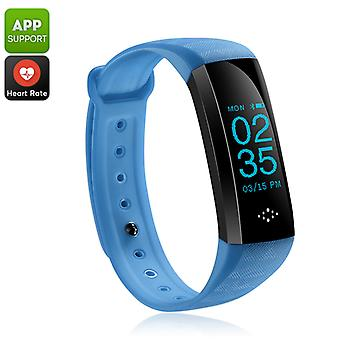 Fitness Tracker Bracelet - Bluetooth 4.0, Heart Rate, Blood Pressure, Pedometer, Distance Counter, Sleep Monitor, IP67 (Blue)
