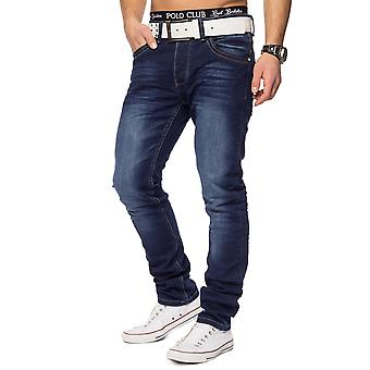 Herren Jeans Hose Slim Fit Denim stonewashed dunkelblau 5-Pocket Stretch