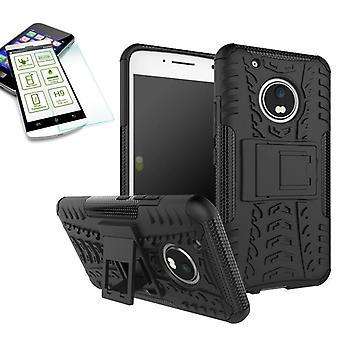 Hybrid sag 2 stykke sort for Lenovo Moto G5 plus + hærdet glas taske case cover