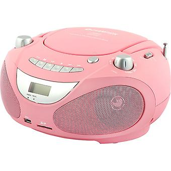 Kampioen Boombox Cd/Radio/Mp3/USB-roze