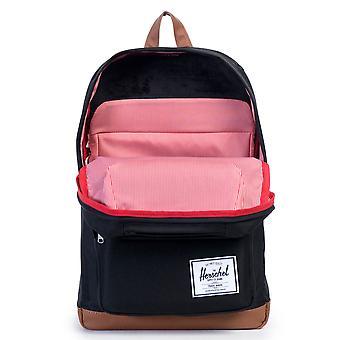 Herschel Pop Quiz Backpack - Black / Tan Synthetic Leather