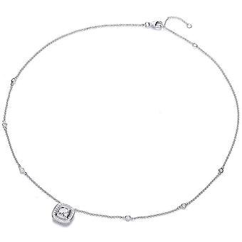 Cavendish French Round Surround Cubic Zirconia Necklace - Silver
