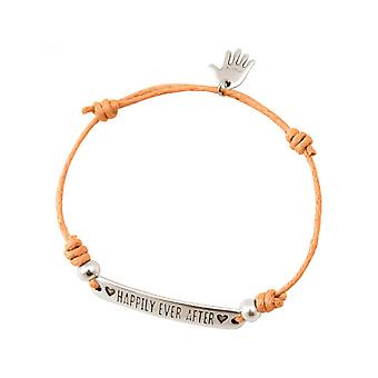 Women - bracelet - engraved - HAPPILY EVER AFTER - silver - bright coral - rose