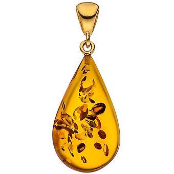 الذهب مطلي 925 الفضة الذهب قلادة قطره 1 المعلقات العنبر العنبر
