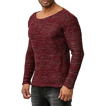 Tazzio fashion mens knitted sweater round neck Red