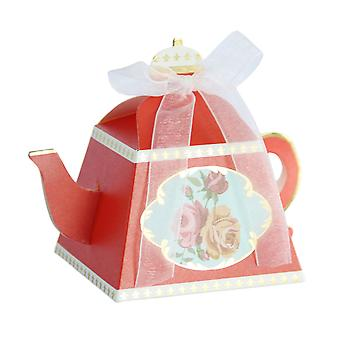 TRIXES Mini Teapot Favour Boxes with Ribbon Pack of 50 Sweets and Gifts