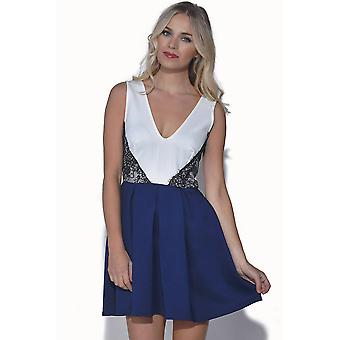 TFNC Lace Colour Block Skater Dress