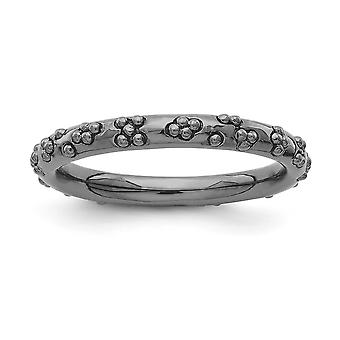 2.5mm Sterling Silver Ruthenium plating Stackable Expressions Black-plated Textured Ring - Ring Size: 5 to 10