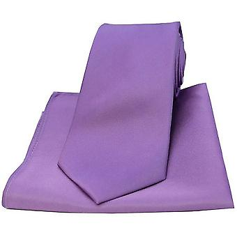David Van Hagen Satin Tie and Pocket Square Set - Lilac