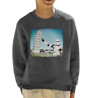 Original Stormtrooper Selfie Leaning Tower Of Pisa Kid's Sweatshirt