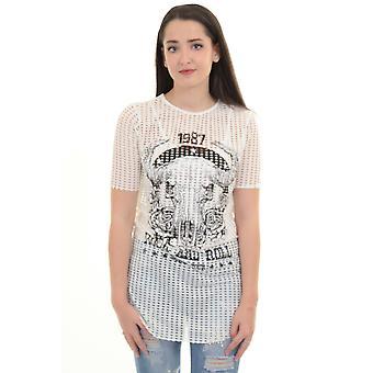 Ladies Short Sleeve Laser Cut Out Grunge Rock Skull Overlay Top Leotard Body