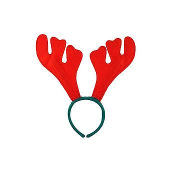 Reindeer Antlers Red Felt On A Green Headband
