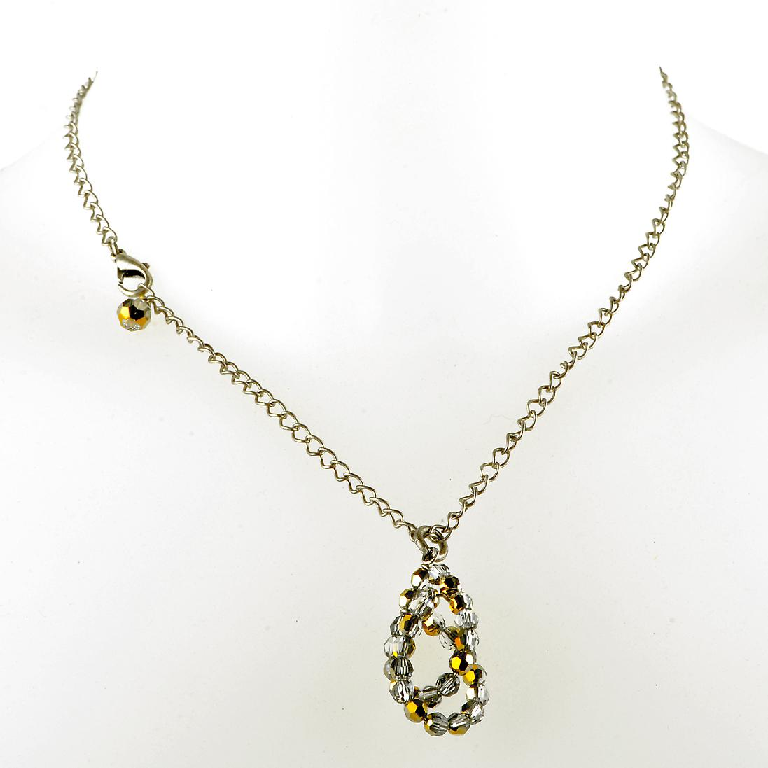 Waooh - jewelry - WJ0297 - necklace with silver Swarovski Crystal and gold - chain silver