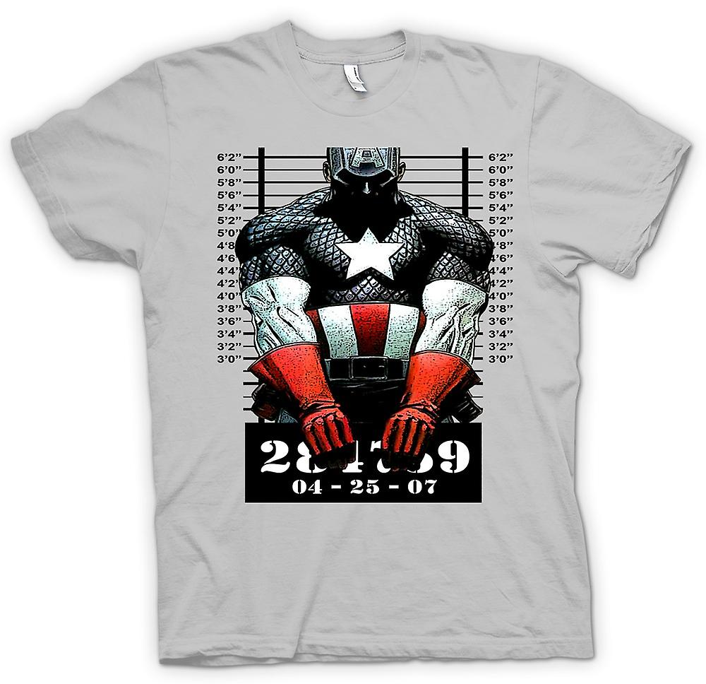 Heren T-shirt - Captain America - Cartoon - Mug Shot