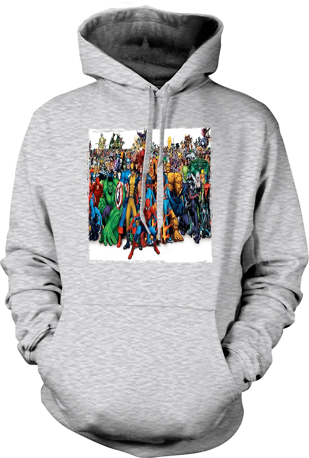 Mens Hoodie - Marvel Comic Hero grupp - porträtt