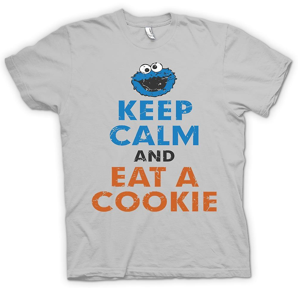 Camiseta para hombre - mantener la calma y comer una galleta - Cookie Monster