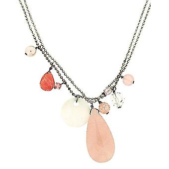 Pink Tear Drop Beaded Rhinestone Necklace, with 16 Inch Double Ball Bead Chain