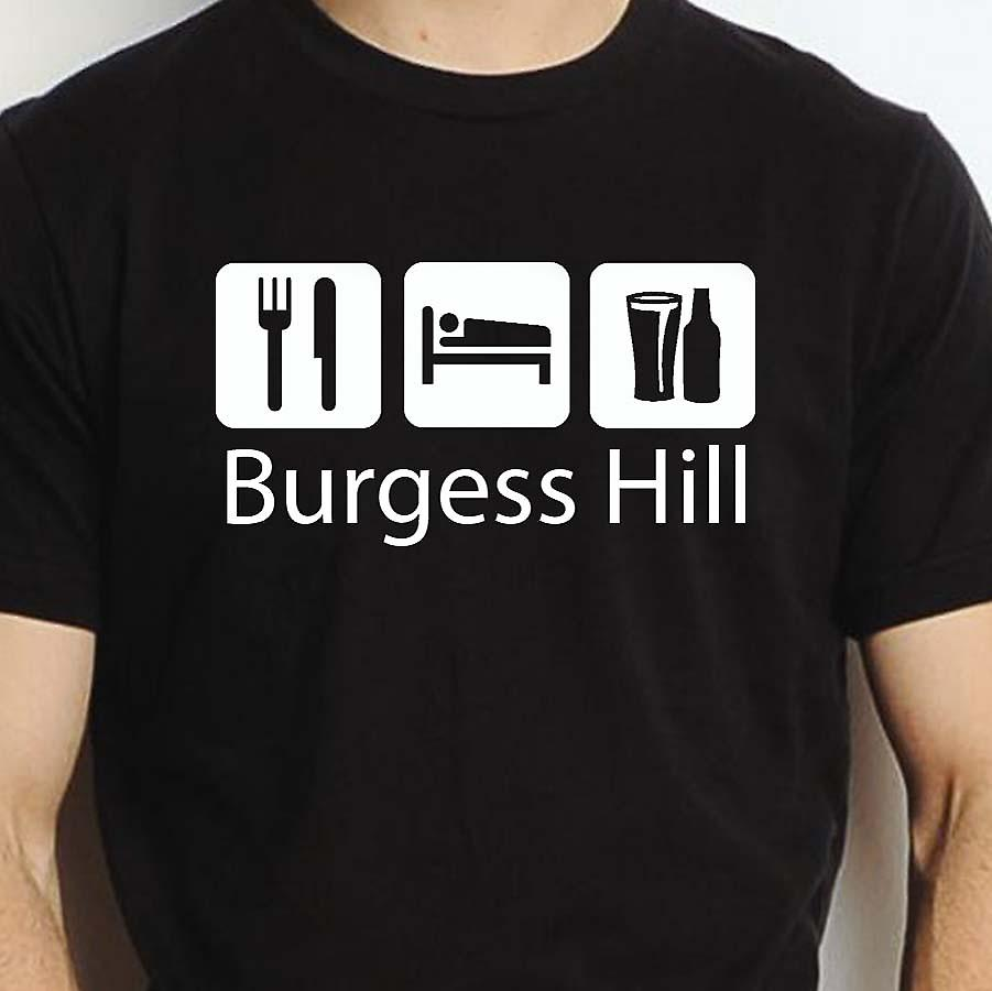 Eat Sleep Drink Burgesshill Black Hand Printed T shirt Burgesshill Town