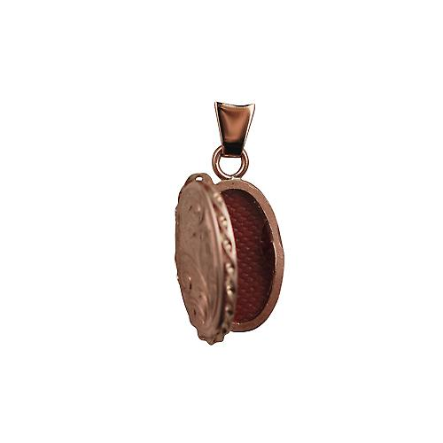 9ct Rose Gold 20x13mm engraved twisted wire edge oval Locket