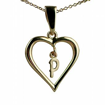 9ct Gold 18x18mm initial P in a heart Pendant with a cable Chain 16 inches Only Suitable for Children