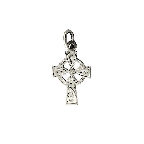 Silver 16x11mm hand engraved Celtic Cross