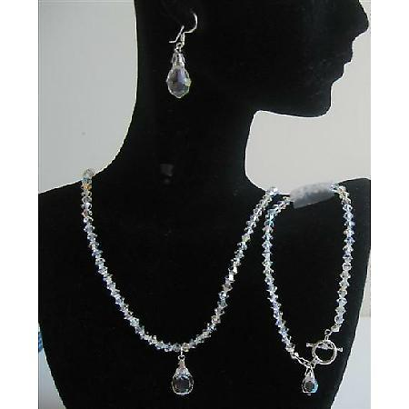 Bridal Bridesmaid Swarovski AB Crystals Wedding Jewelry Teardrop Set