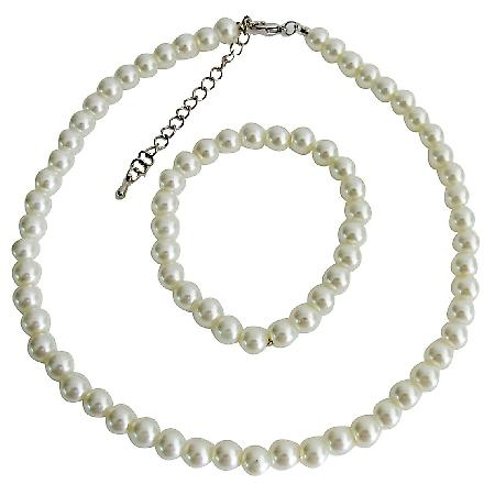 Flower Pearl Set Ivory Pearl Necklace Stretchable Bracelet Wedding Jewelry