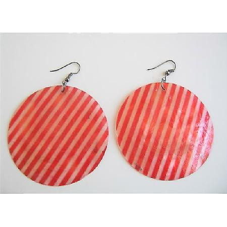 Red & White Stripes Shell Earrings Round Mop Stripes Shell Earrings