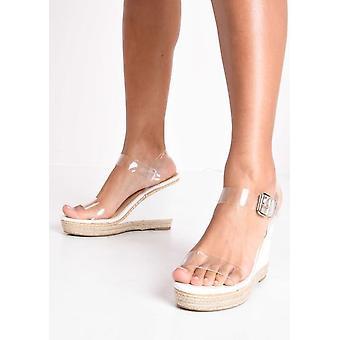 Perspex Platform Espadrille Wedge Sandals White
