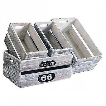 Set of 4 Vintage Grey Wooden storage boxes-Mobile Re4590-Rebecca