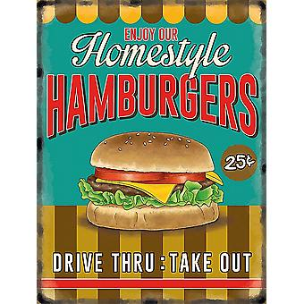 Homestyle Hamburgers small metal sign  200mm x 150mm  (og)