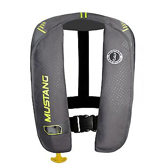 Mustang MIT 100 Inflatable Manual PFD - Gray/Flourescent Yellow-Green