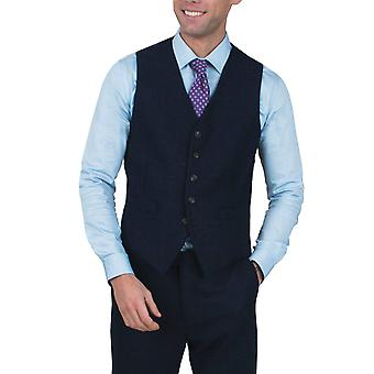 Dobell Mens Blue Herringbone Tweed Waistcoat Regular Fit 5 Button