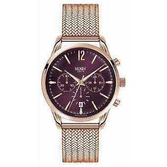 Henry London Hampstead Rose Gold Plated Mesh Chronograph HL39-CM-0088 Watch