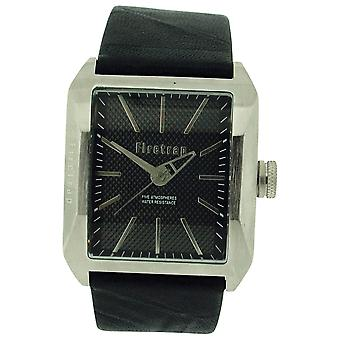 Firetrap Gents Analogue Black Textured Dial in pelle nera Strap Watch FT1061S