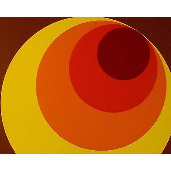 Retro 70s Big Circle behang bruin oranje geel plak de muur als creatie