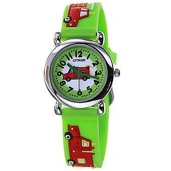 Citron KID145 Analogue Boys 3D Fire Engine Truck Motiff Green Silicone Strap Watch