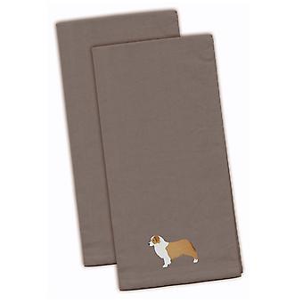 Australian Shepherd Dog Gray Embroidered Kitchen Towel Set of 2