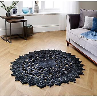 Zarla Black Circle Teppiche Plain/Fast einfache Teppiche