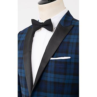 Dobell Mens Blue 2 Piece Tartan Tuxedo Regular Fit Contrast Peak Lapel