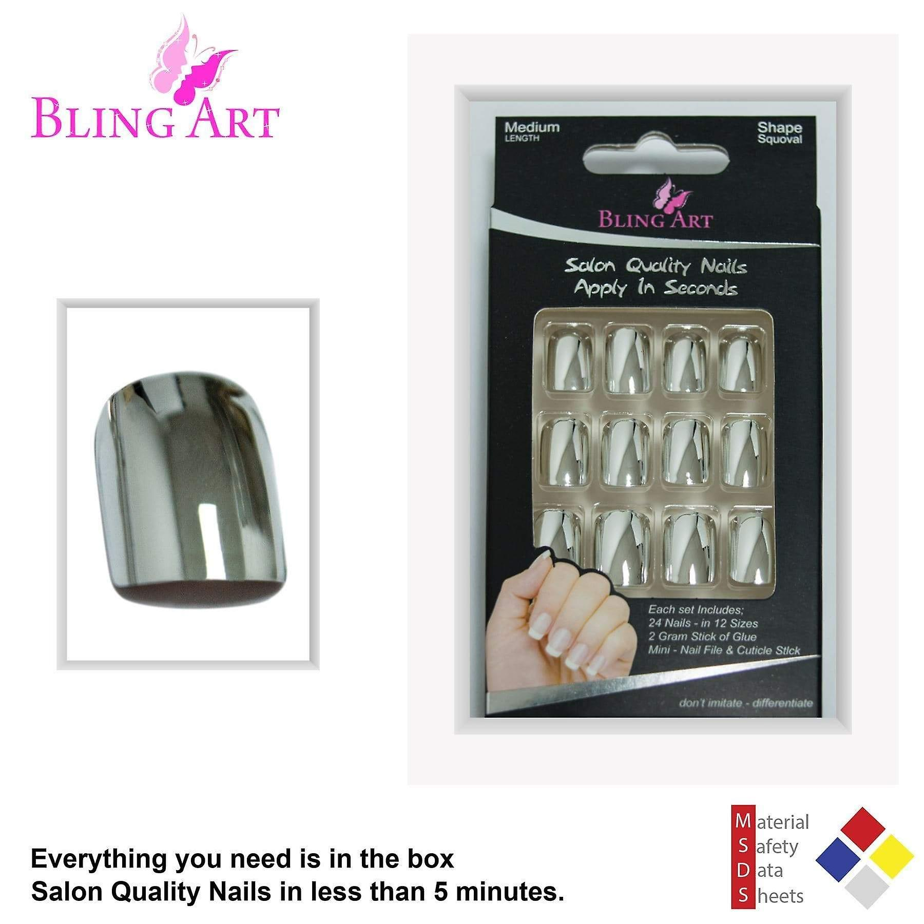 False nails by bling art silver chrome french squoval fake medium acrylic tips