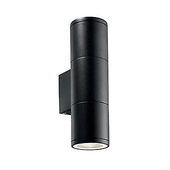 2 Light Outdoor Small Wall Light Black White Ip44