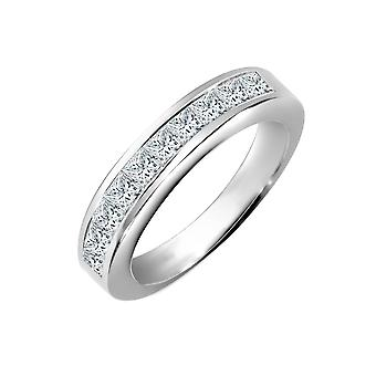 Jewelco Londen dames Solid 18ct wit goud kanaal instellen prinses G VS 0.5 Ct Diamond sierlijke band Eternity Ring 3.5 mm