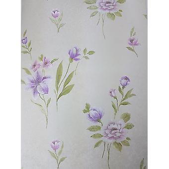 Purple Cream Floral Wallpaper Pink Green Embossed Pre Pasted Vinyl Norwall