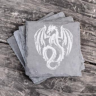 Flying dragon fossil - slate coasters - set of 4