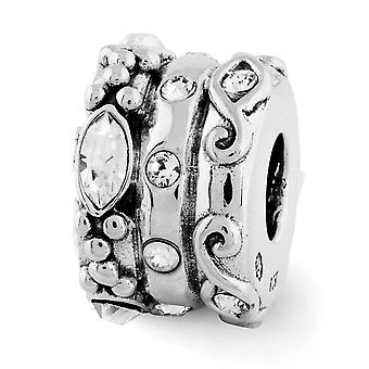 925 Sterling Silver Antique finish Reflections Crystal Fancy Bali Bead Charm