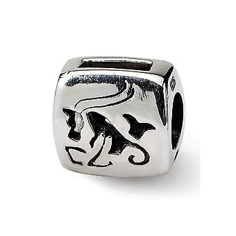 925 Sterling Argent Polished Reflections Capricorn Zodiac Antiqued Bead Charm