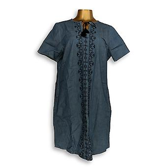 Denim & Co. Dress Embroidered Stretch Chambray Split Blue A304656