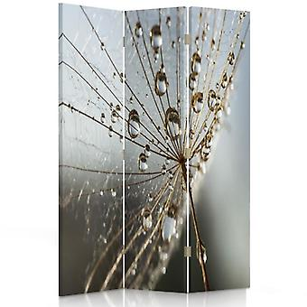 Room Divider, 3 Panels, Single-Sided, Canvas, Dew Drops On Plant