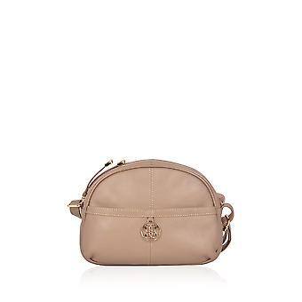 Cartmel Curved Leather Cross Body Bag in Taupe